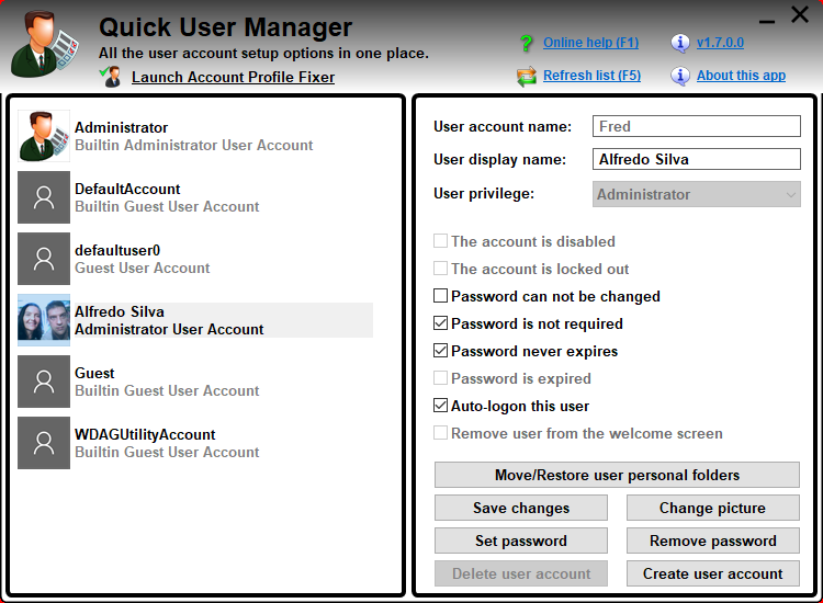 Quick User Manager For Windows [Non Domain Users]