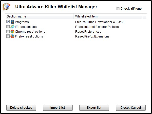 Ultra adware killer whitelist