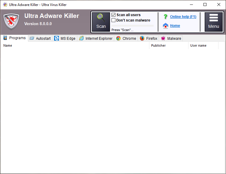 Ultra Adware Killer full screenshot