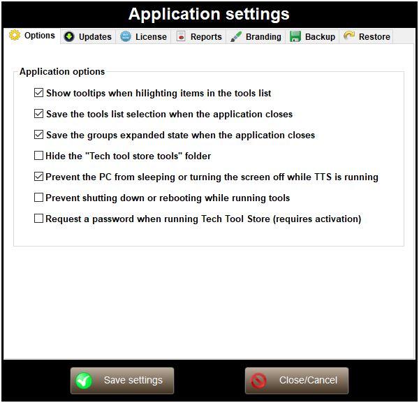tech tool store settings